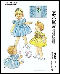 McCall's # 2320 Fabric Sewing Pattern Girl's Cute Smocked or Gathered Dress Pick