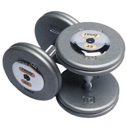 TROY Pro Style Dumbbells - Hammertone Gray with Chrome End Caps Dumbbell Sets