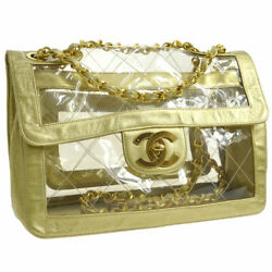 Auth CHANEL Quilted CC Double Chain Shoulder Bag Clear Gold Vinyl Leather A39896