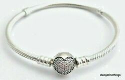 NWT AUTHENTIC PANDORA SILVER BRACELET SPARKLING HEART #590743CZ MULTIPLE SIZES