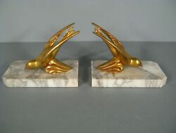 Pair of Bookends Old Art Deco Style Décor Aviary Birds Spelter and Marble