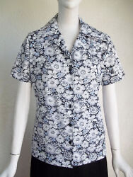 Vintage 70s SEARS Wide Collar Button Front FLORAL Polyester Print Blouse Shirt M $20.00