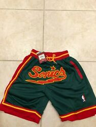 NWT Seattle Supersonics Throwback Retro Jersey Shorts Emerald Green Gary Payton
