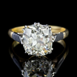 ANTIQUE EDWARDIAN 3.88CT DIAMOND SOLITAIRE ENGAGEMENT RING 18CT GOLD PLATINUM