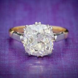 Antique Edwardian 3.88ct Diamond Solitaire Ring 18ct Gold Platinum Circa 1915