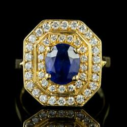 VINTAGE SAPPHIRE DIAMOND CLUSTER RING 18CT GOLD 1.60CT SAPPHIRE