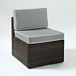 Crosley  Palm Harbor Outdoor Wicker Center Chair In Brown With Grey Cushions