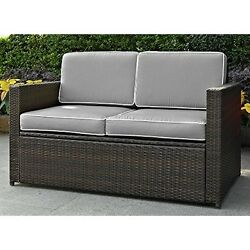 Crosley  Palm Harbor Outdoor Wicker Loveseat In Brown With Grey Cushions
