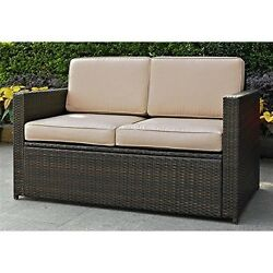 Crosley  Palm Harbor Outdoor Wicker Loveseat In Brown With Sand Cushions