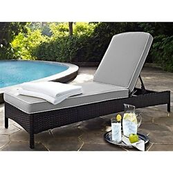 Crosley  Palm Harbor Outdoor Wicker Chaise Lounge In Brown With Grey Cushions