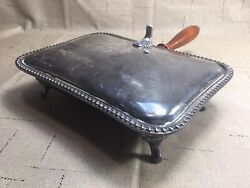 VintageAntique Silent Butler Wood Handle Crumb Ash Tray Silver Plated [KC04]