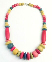 Vintage 1980's Bright Colorful Chunky Boho Wooden Bead Necklace 24