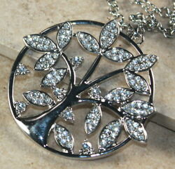 SILVER Elegant Family Tree of Life Crystal Round Pendant Necklace 006