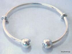 NEWTAGS  AUTHENTIC PANDORA SILVER OPEN BANGLE BRACELET #596477 MULTIPLE SIZES