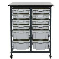 Luxor Furniture MBS DR 8S4L Mobile Bin Storage Unit Double Row Small Bins NEW $269.83