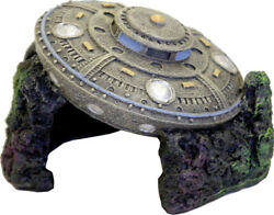 Blue Ribbon Pet Products-Exotic Environments Crashed Ufo With Cave- Gray