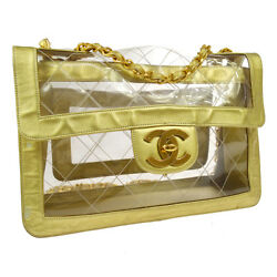 Auth CHANEL Quilted CC Jumbo Double Chain Shoulder Bag Clear Gold Vinyl AK34112c