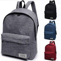 US Women Men Shoulder Canvas Backpack Rucksack School Book Travel College Bag