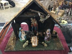 Vintage Wooden Nativity Scene Made In Italy