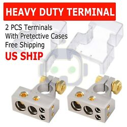 2 Car Battery Terminal Connector Top Post Positive Negative Heavy Duty Universal $11.95