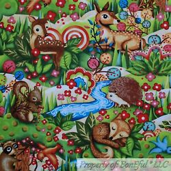 BonEful Fabric FQ Cotton Quilt Green Grass Tree Scenic Animal Flower Hedgehog US