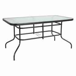 Flash Furniture Tempered Glass Top 55 in. Metal Rectangular Patio Dining Table