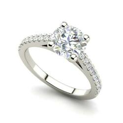 Pave Cathedral 3 Carat SI1D Round Cut Diamond Engagement Ring White Gold