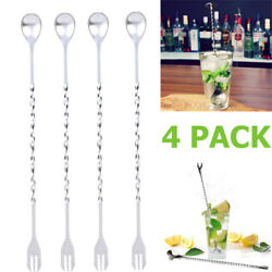 4 x10quot; Stainless Steel Stirring Cocktail Bar Long Handle Bar ware Mixing Spoon $7.65