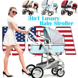 Luxury 3In1 Baby Stroller Travel System Pushchair Infant Basket Car Seats Buggy