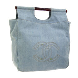 CHANEL CC Tortoiseshell Plastic Hand Tote Bag 4690272 Light Blue Denim JT07437