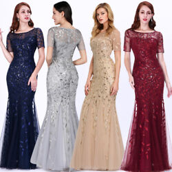 US Ever-Pretty Plus Size Mesh Sleeve Long Evening Gowns Bridesmaid Party Dresses $39.99