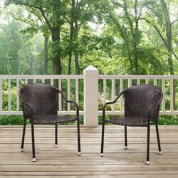 Crosley Palm Harbor Stackable Wicker Dining Chairs - Set of 2