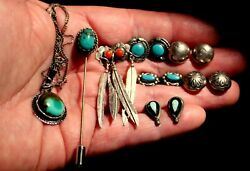 Old Navajo Jewelry LOT Sterling Silver Turquoise 6 Earrings Necklace