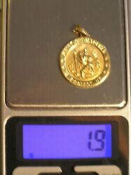 14kt Yellow Gold St. Christopher Protect Us Pendant Medallion 1.9 Grams