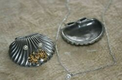 Torino Pewter Shell Earrings Pin Necklace & Jewelry Box