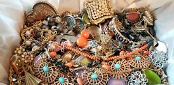 Vintage Mod Jewelry Lot Pin Earrings Necklaces Bracelet Rhinestone Some Signed +