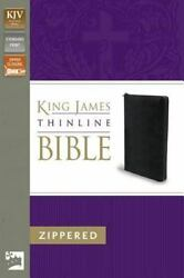KJV Thinline Zippered Collection Bible Bonded Leather Black Red Letter Editi