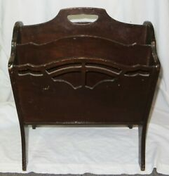 Old Antique BUTLER Style 805 MAHOGANY 4 Compartment Freestanding MAGAZINE RACK
