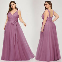 Ever-pretty US Plus Size A-line Bridesmaid Wedding Dress Long Cocktail Prom Gown $52.99