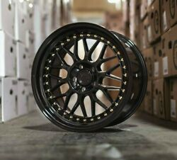 18x9.5 Aodhan Ah02 Wheels 5x114.3 +30 Gloss Black Gold Rivets 18 Inch Rims Set 4