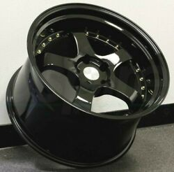 18x9.5 +3018x10.5+25 Aodhan AH03 Wheels 5x114.3 Black Gold Rivets Rims Set 4