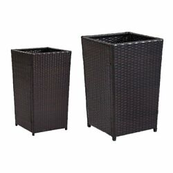 Crosley Palm Harbor Wicker Planters - Set of 2 Brown Extra Large