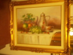 Vintage Ornate Wood Frame WSigned Original Oil Painting of Still Life - Mariano