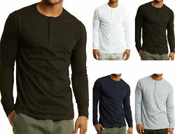 Men's Long Sleeve Henley 3 Button Pullover Cotton T-Shirt Crew Neck