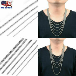 Punk Silver Men Women Stainless Steel Rope Rolo Box Chain Necklace 22-36'' L US