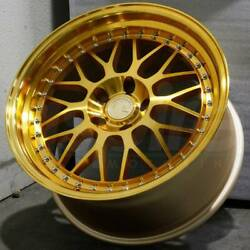 18x8.5 Aodhan AH02 5x114.3 +35 Gold Machined Face 18 Inch Wheels Rims Set 4