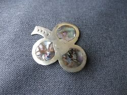 Vintage inlaid abalone silver plated large clover pendant Marked Hecho en Mexico