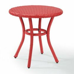 Crosley Palm Harbor Round Wicker Side Table Red