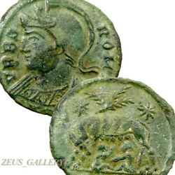SHE WOLF Twins ROMULUS REMUS RARE Arles CONSTANTINE The GREAT Ancient Roman Coin