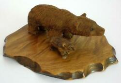Carved Wooden Bear Figurines On A Wooden Base Made In Taiwan 2 12
